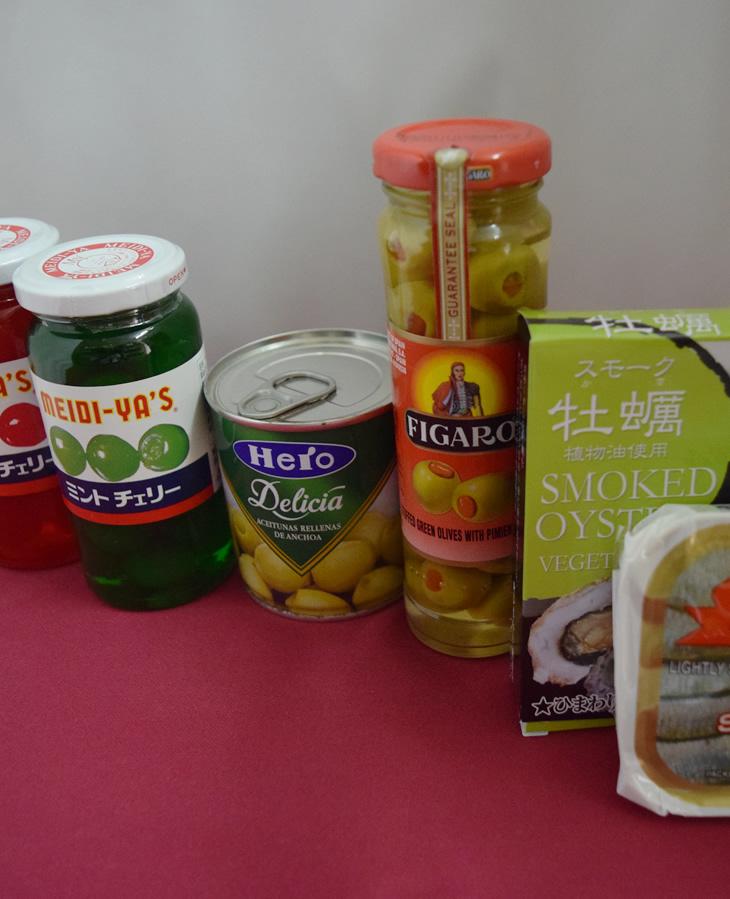 マラスキノチェリー 赤・緑,HERO オリーブアンチョビ,フィガロ ピメントオリーブ,スモーク牡蠣,キングオブキングス サーディン